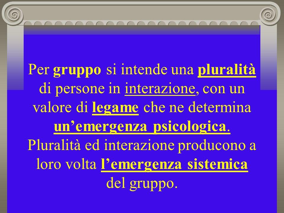 Per gruppo si intende una pluralità di persone in interazione, con un valore di legame che ne determina un'emergenza psicologica.