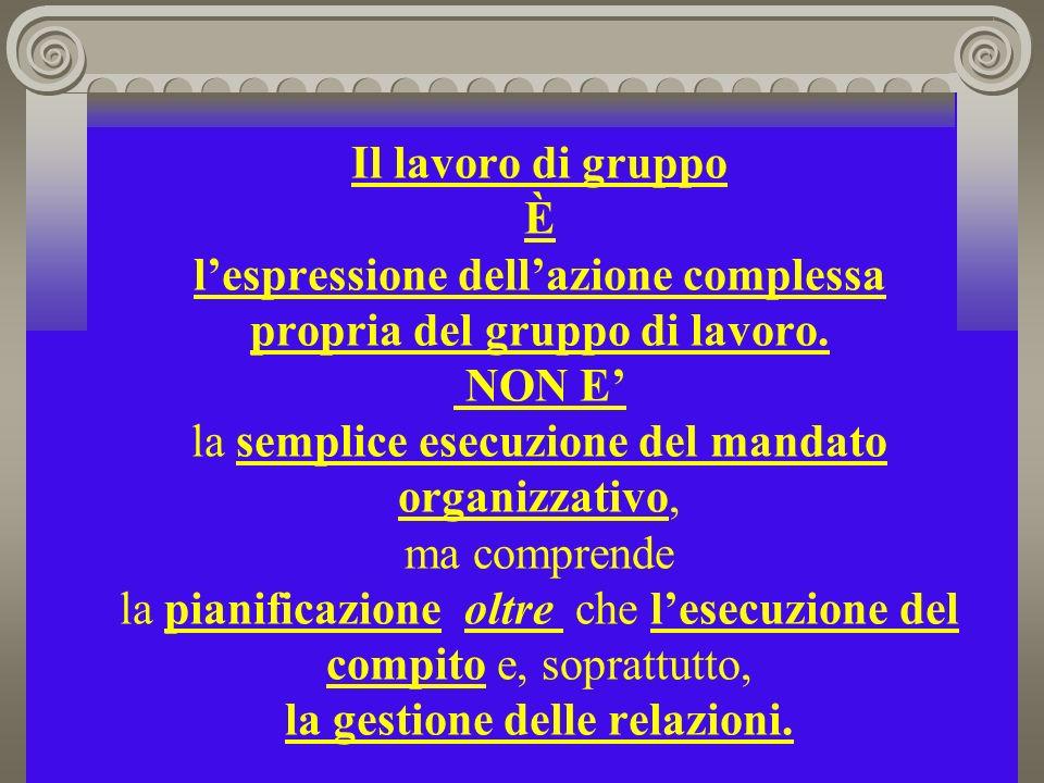 Il lavoro di gruppo È l'espressione dell'azione complessa propria del gruppo di lavoro.