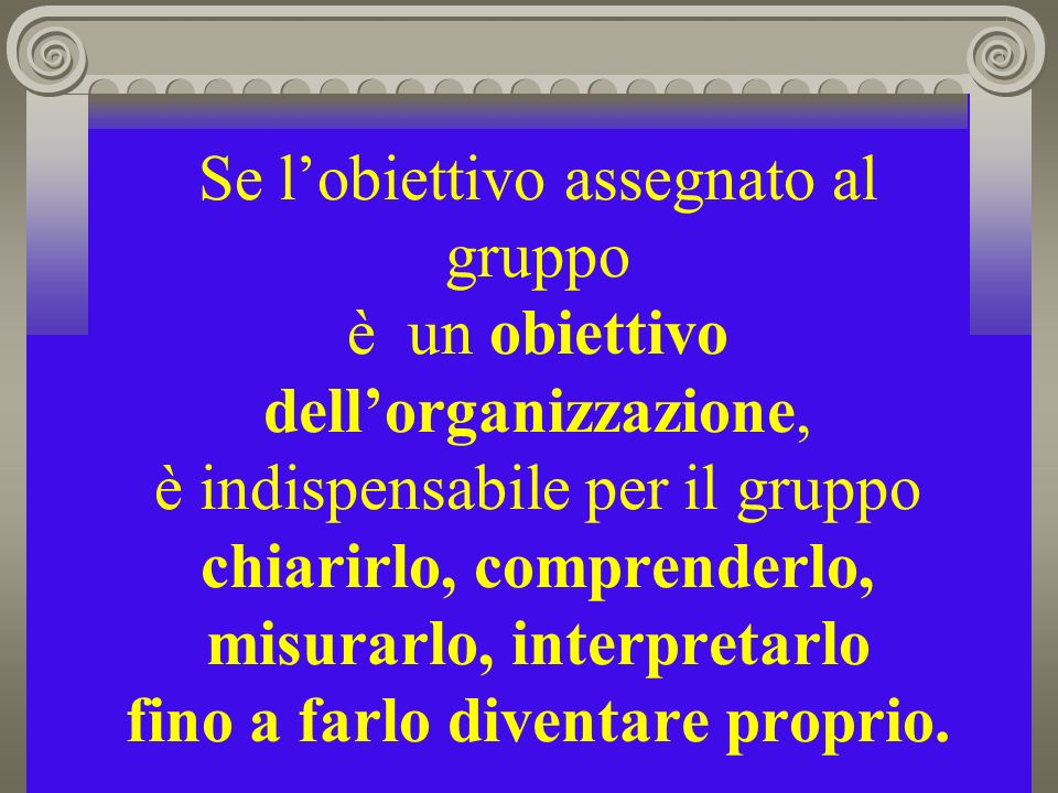 Se l'obiettivo assegnato al gruppo è un obiettivo dell'organizzazione, è indispensabile per il gruppo chiarirlo, comprenderlo, misurarlo, interpretarlo fino a farlo diventare proprio.