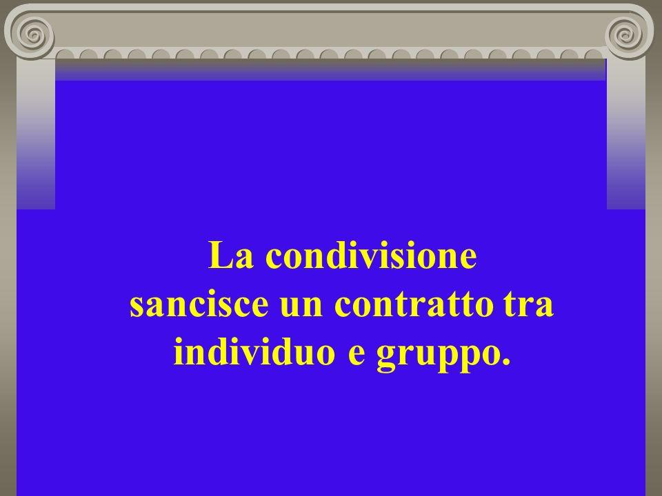 La condivisione sancisce un contratto tra individuo e gruppo.