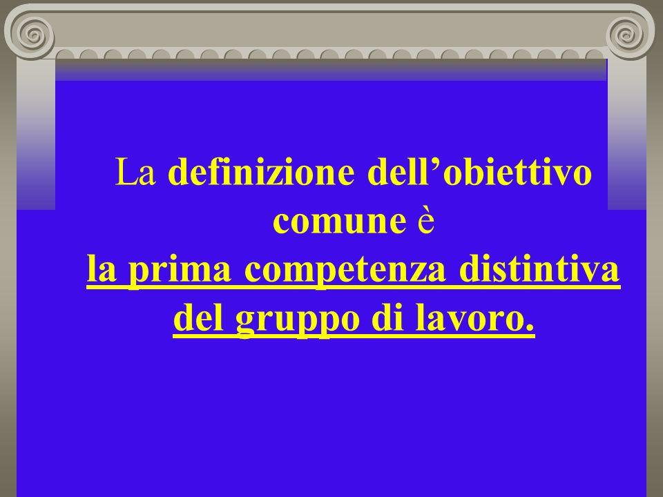 La definizione dell'obiettivo comune è la prima competenza distintiva del gruppo di lavoro.