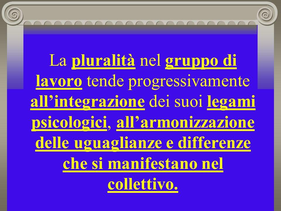 La pluralità nel gruppo di lavoro tende progressivamente all'integrazione dei suoi legami psicologici, all'armonizzazione delle uguaglianze e differenze che si manifestano nel collettivo.