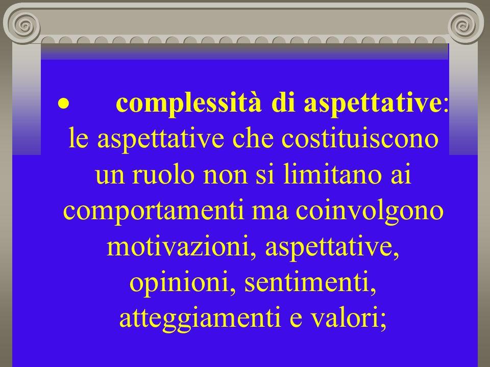 · complessità di aspettative: le aspettative che costituiscono un ruolo non si limitano ai comportamenti ma coinvolgono motivazioni, aspettative, opinioni, sentimenti, atteggiamenti e valori;