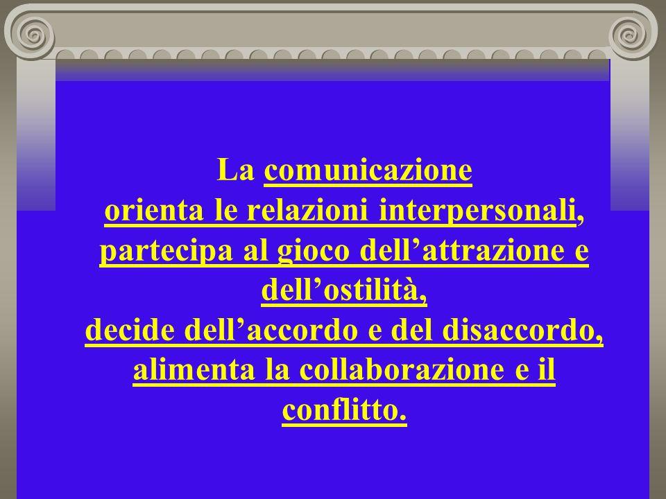 La comunicazione orienta le relazioni interpersonali, partecipa al gioco dell'attrazione e dell'ostilità, decide dell'accordo e del disaccordo, alimenta la collaborazione e il conflitto.