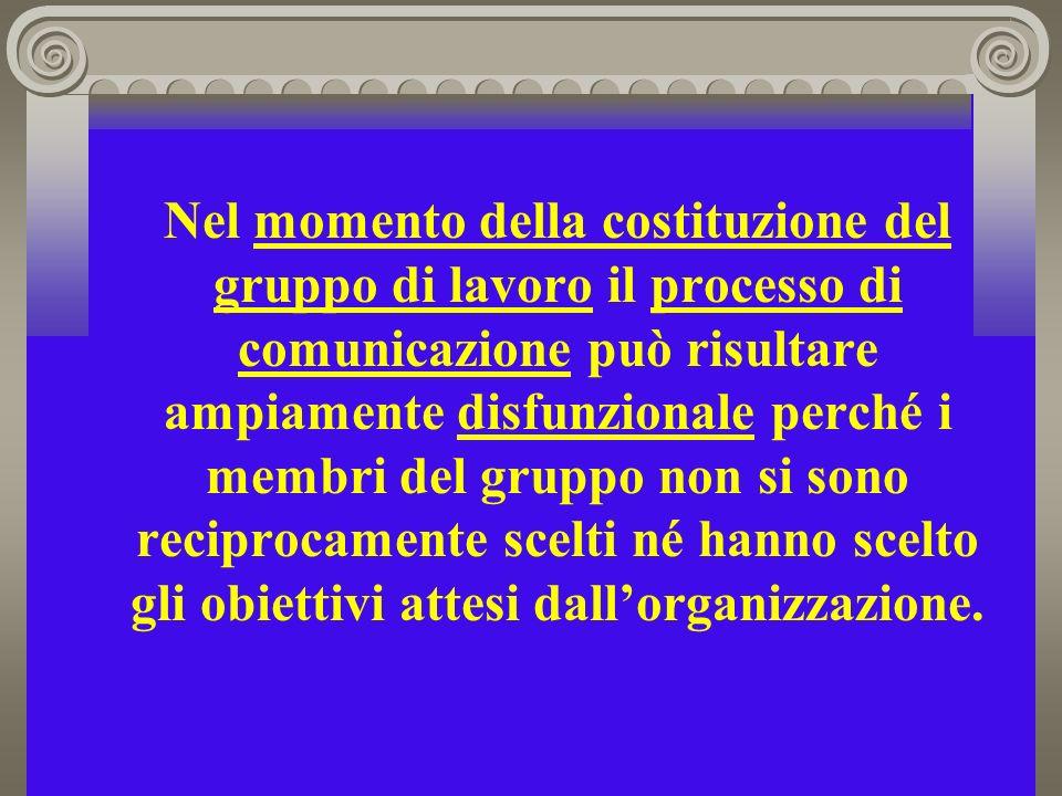Nel momento della costituzione del gruppo di lavoro il processo di comunicazione può risultare ampiamente disfunzionale perché i membri del gruppo non si sono reciprocamente scelti né hanno scelto gli obiettivi attesi dall'organizzazione.