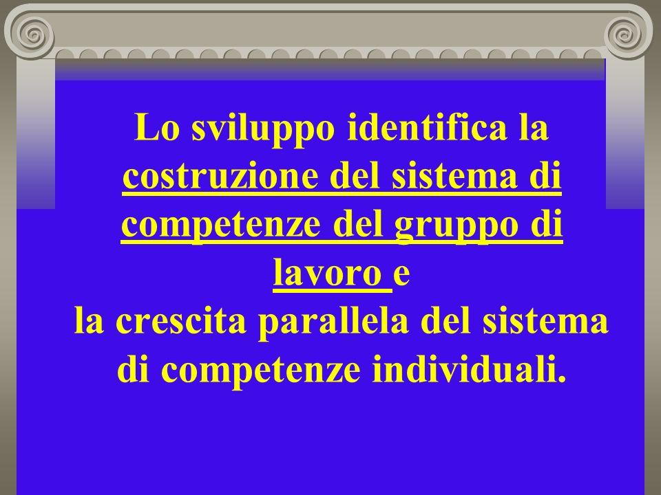 Lo sviluppo identifica la costruzione del sistema di competenze del gruppo di lavoro e la crescita parallela del sistema di competenze individuali.