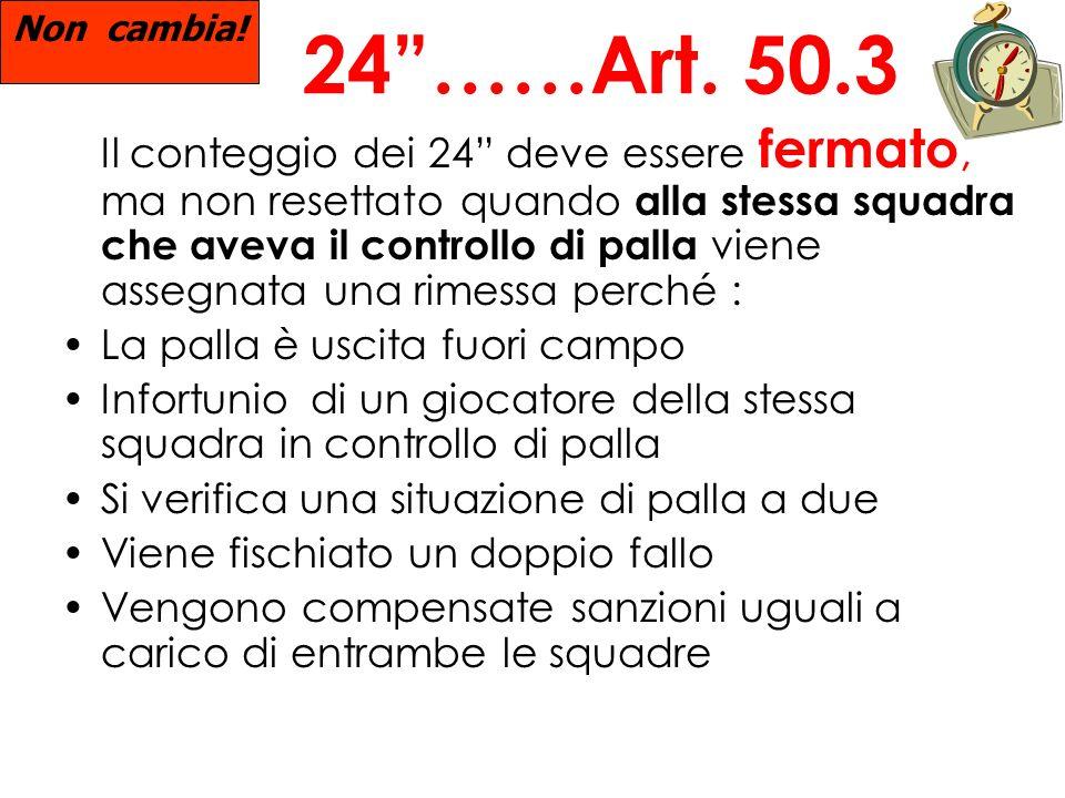 Non cambia! 24 ……Art. 50.3.