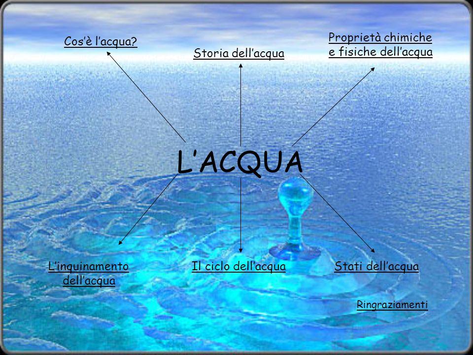 L'ACQUA Proprietà chimiche e fisiche dell'acqua Cos'è l'acqua