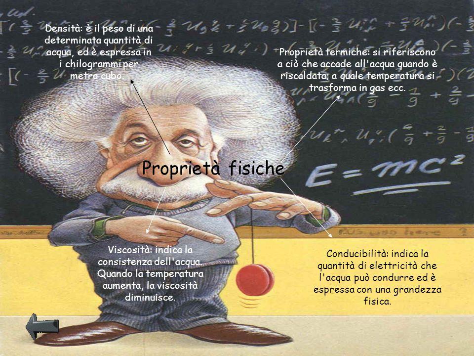 Densità: è il peso di una determinata quantità di acqua, ed è espressa in i chilogrammi per metro cubo.