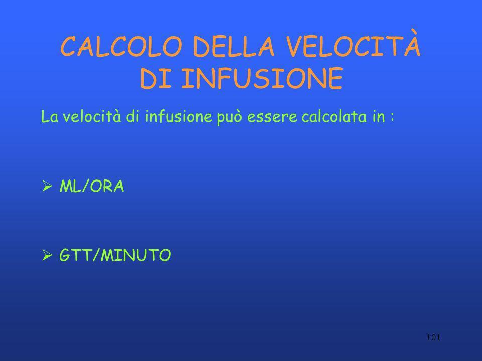 CALCOLO DELLA VELOCITÀ DI INFUSIONE
