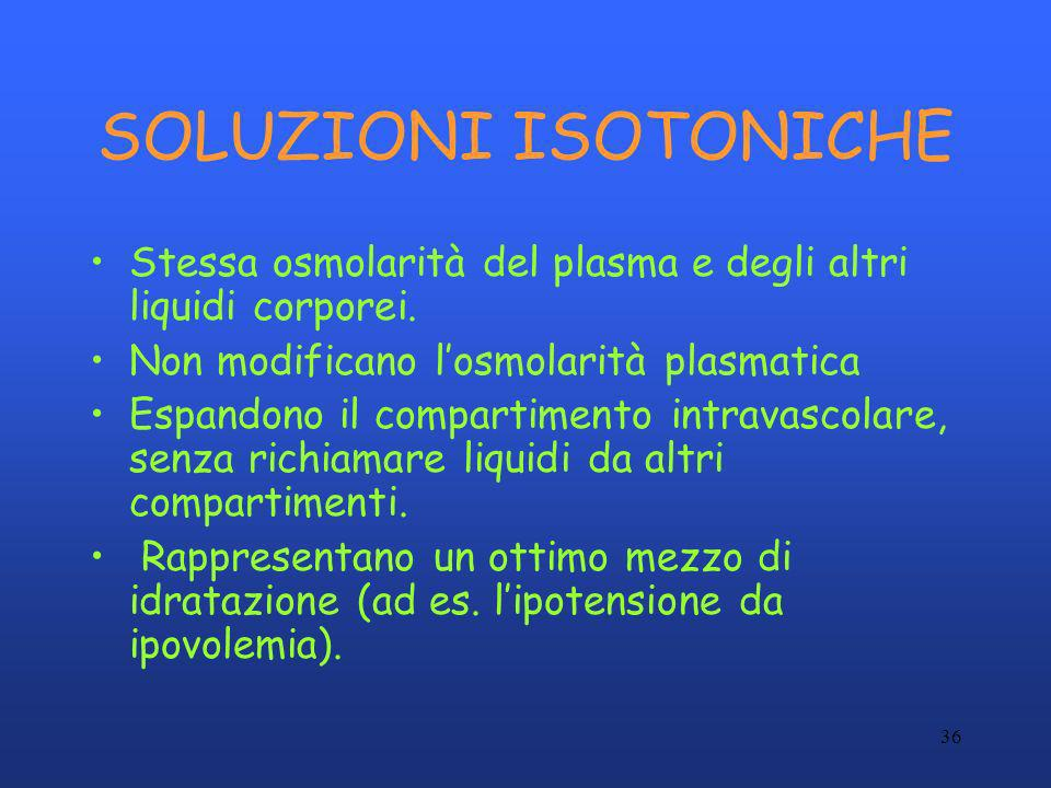 SOLUZIONI ISOTONICHE Stessa osmolarità del plasma e degli altri liquidi corporei. Non modificano l'osmolarità plasmatica.