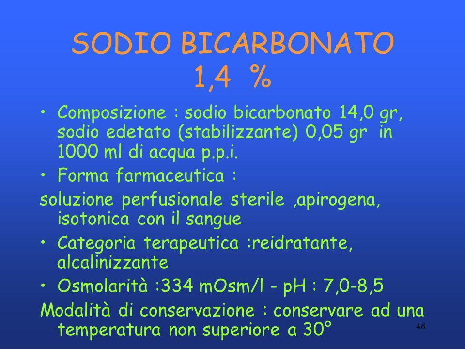 SODIO BICARBONATO 1,4 % Composizione : sodio bicarbonato 14,0 gr, sodio edetato (stabilizzante) 0,05 gr in 1000 ml di acqua p.p.i.
