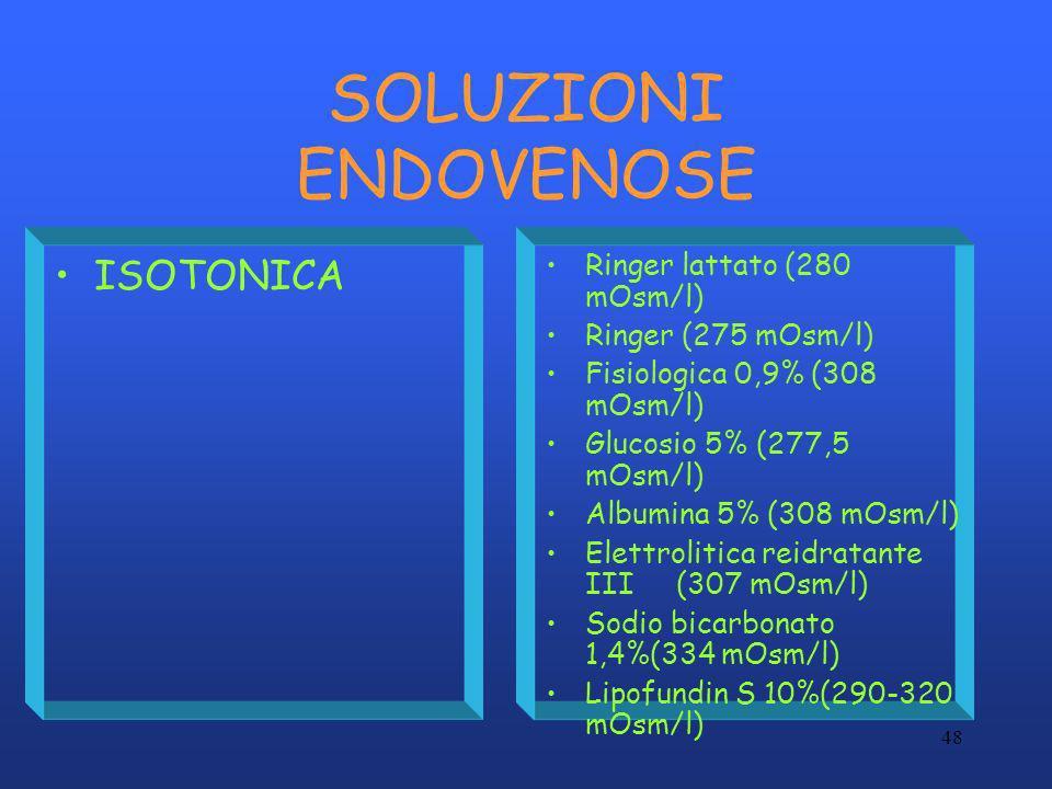 SOLUZIONI ENDOVENOSE ISOTONICA Ringer lattato (280 mOsm/l)
