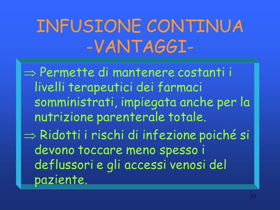 INFUSIONE CONTINUA -VANTAGGI-