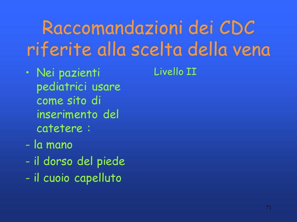 Raccomandazioni dei CDC riferite alla scelta della vena