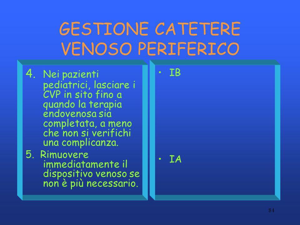 GESTIONE CATETERE VENOSO PERIFERICO