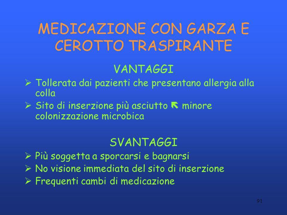 MEDICAZIONE CON GARZA E CEROTTO TRASPIRANTE