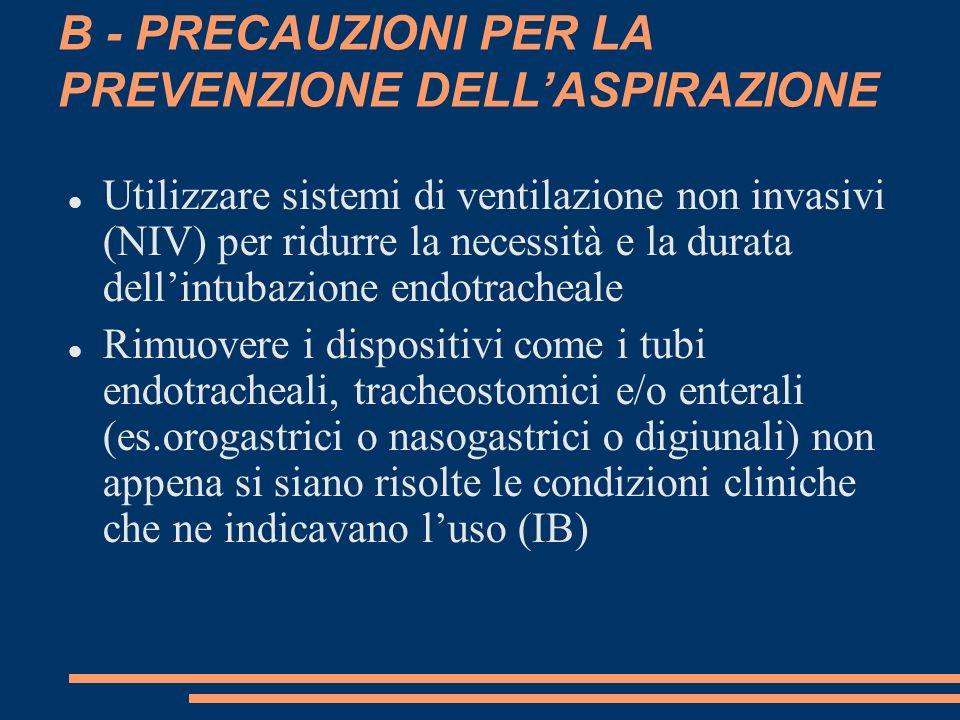 B - PRECAUZIONI PER LA PREVENZIONE DELL'ASPIRAZIONE