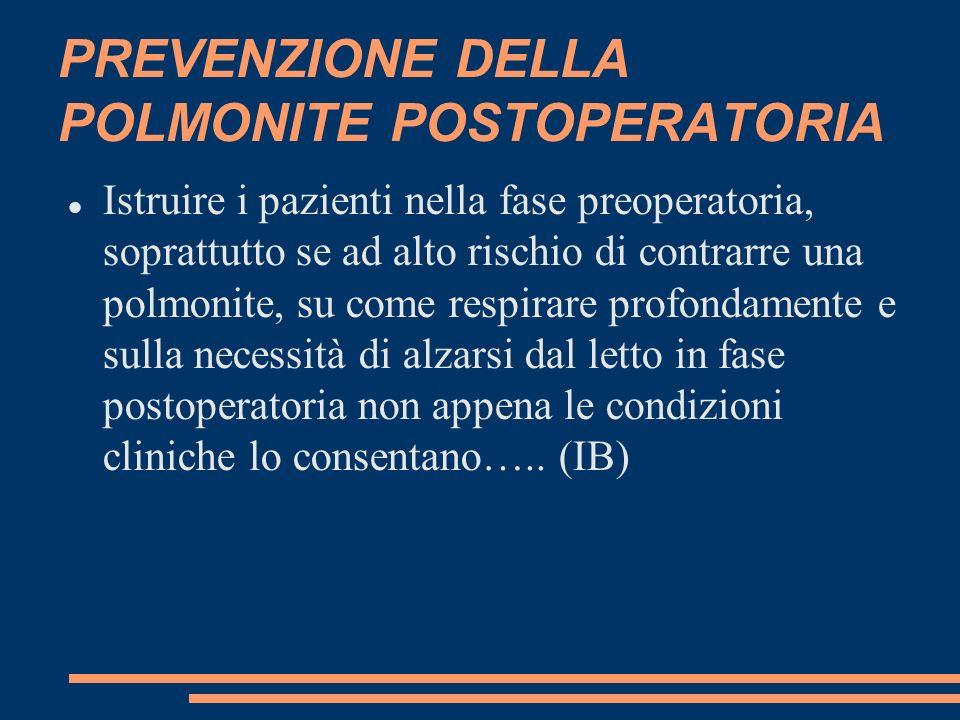 PREVENZIONE DELLA POLMONITE POSTOPERATORIA