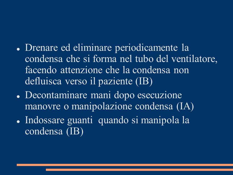Drenare ed eliminare periodicamente la condensa che si forma nel tubo del ventilatore, facendo attenzione che la condensa non defluisca verso il paziente (IB)