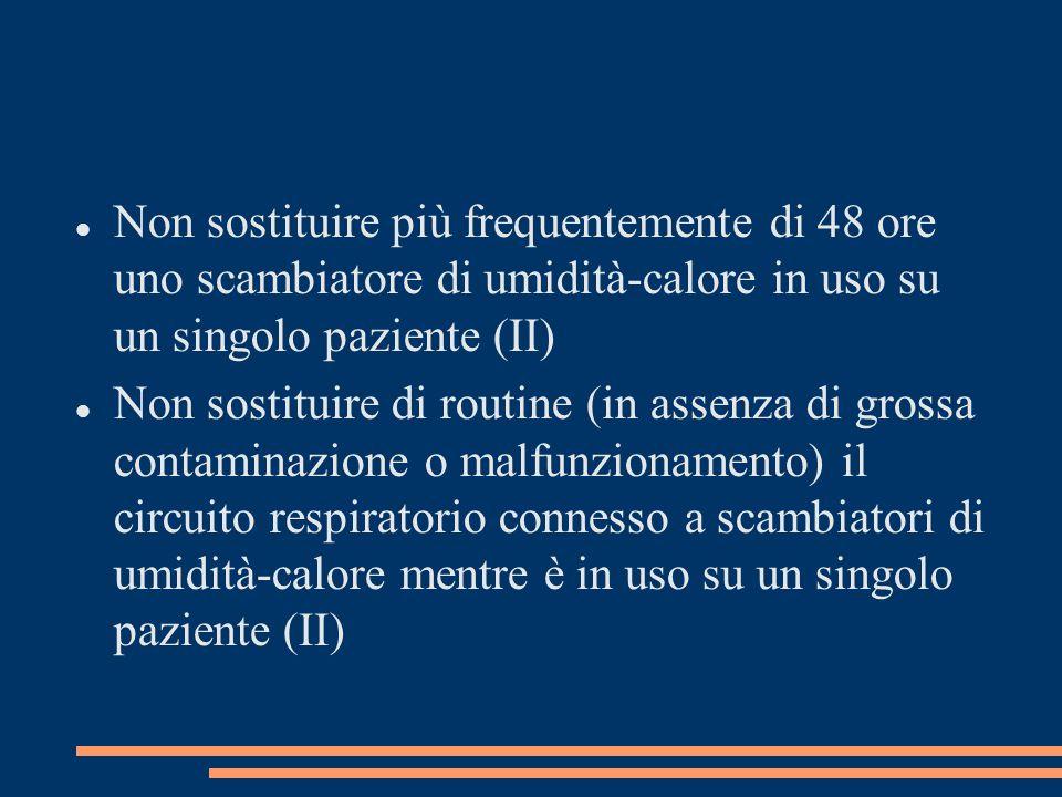 Non sostituire più frequentemente di 48 ore uno scambiatore di umidità-calore in uso su un singolo paziente (II)