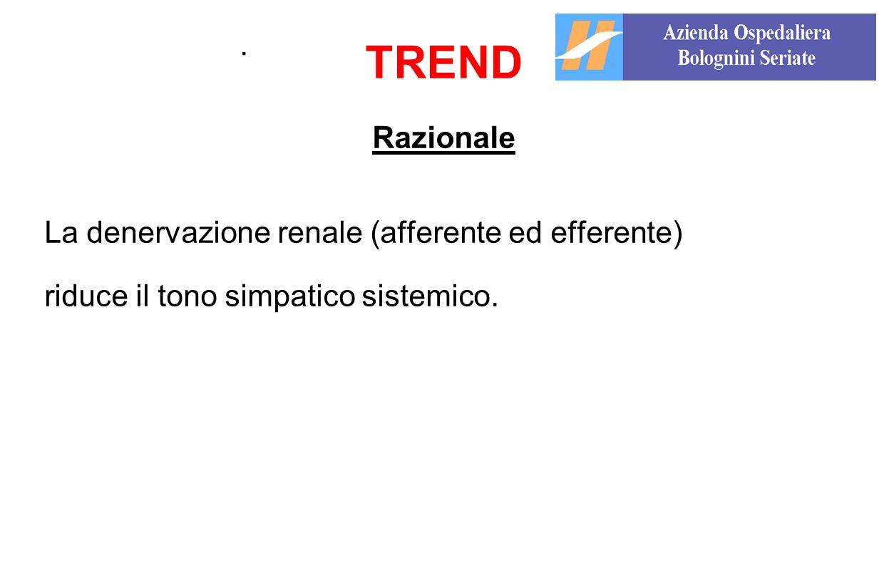 TREND . Razionale La denervazione renale (afferente ed efferente)