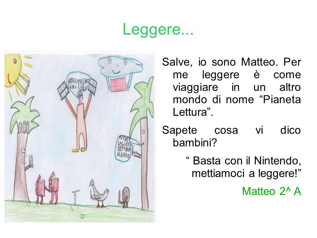 Leggere... Salve, io sono Matteo. Per me leggere è come viaggiare in un altro mondo di nome Pianeta Lettura .