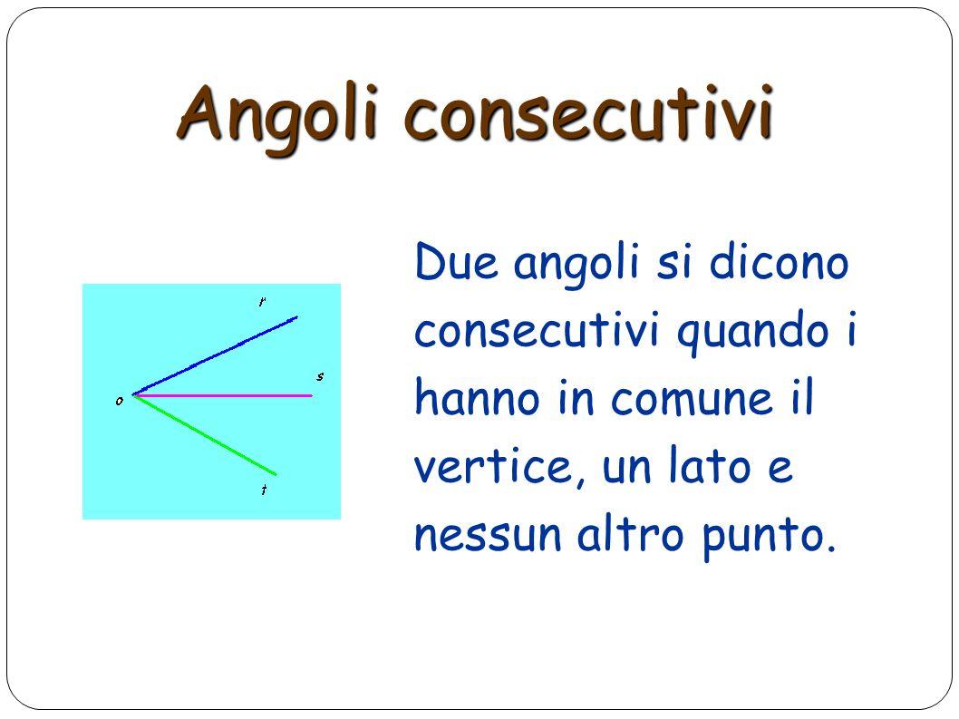 Angoli consecutivi Due angoli si dicono consecutivi quando i hanno in comune il vertice, un lato e nessun altro punto.