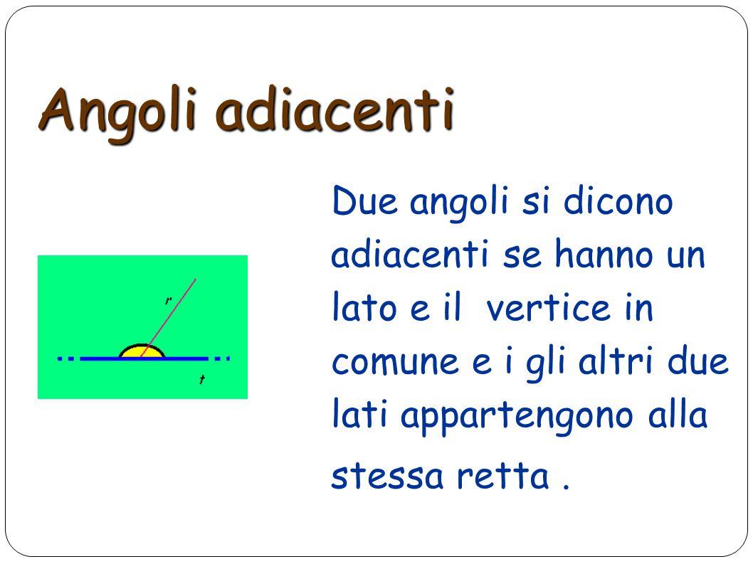 Angoli adiacenti Due angoli si dicono adiacenti se hanno un lato e il vertice in comune e i gli altri due lati appartengono alla stessa retta .