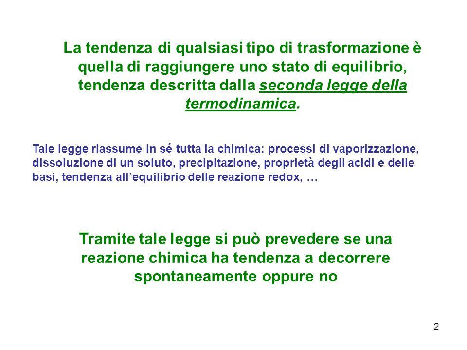 La tendenza di qualsiasi tipo di trasformazione è quella di raggiungere uno stato di equilibrio, tendenza descritta dalla seconda legge della termodinamica.