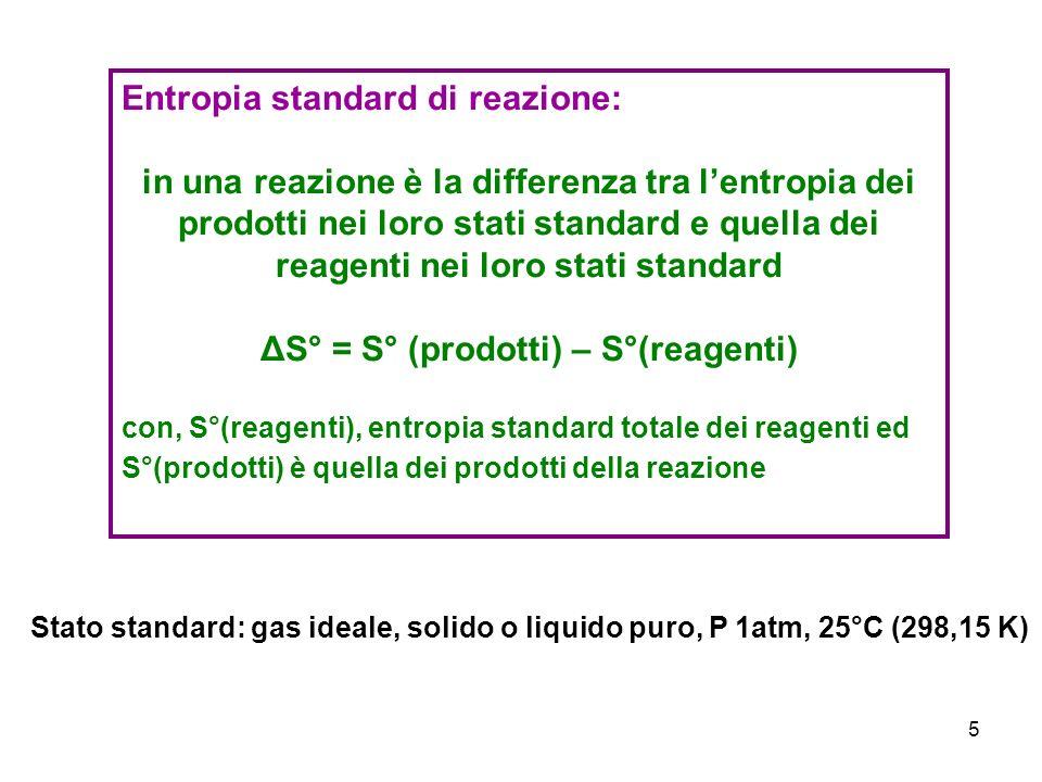 ΔS° = S° (prodotti) – S°(reagenti)