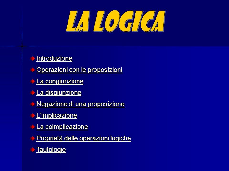 La Logica Introduzione Operazioni con le proposizioni La congiunzione