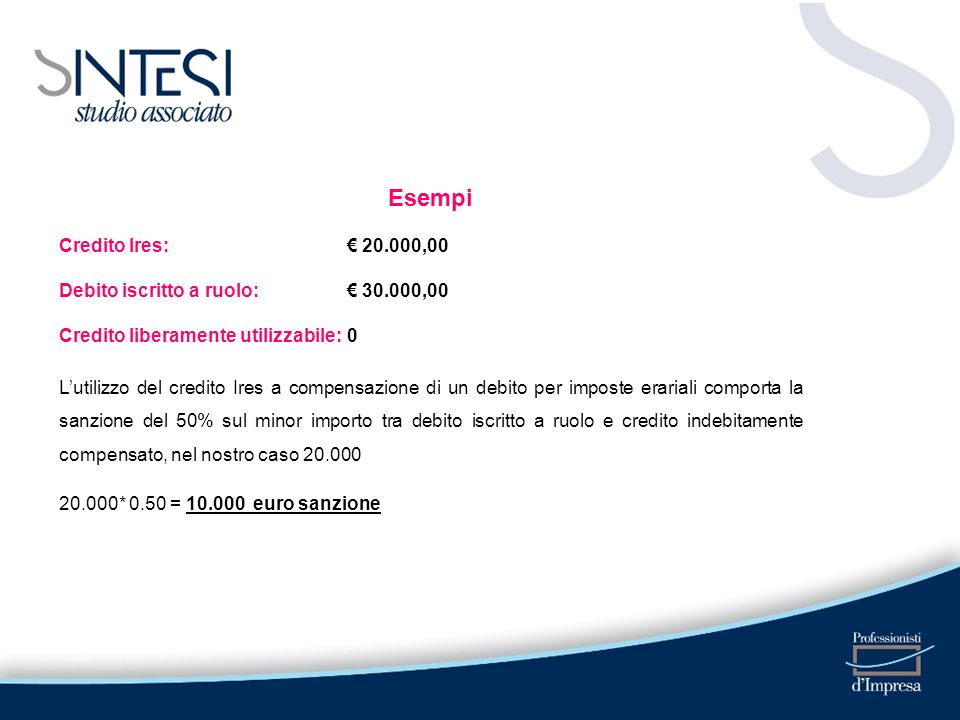 Esempi Credito Ires: € 20.000,00 Debito iscritto a ruolo: € 30.000,00