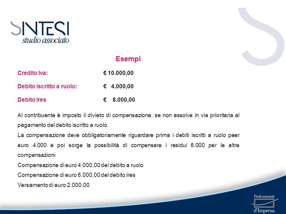Esempi Credito Iva: € 10.000,00 Debito iscritto a ruolo: € 4.000,00