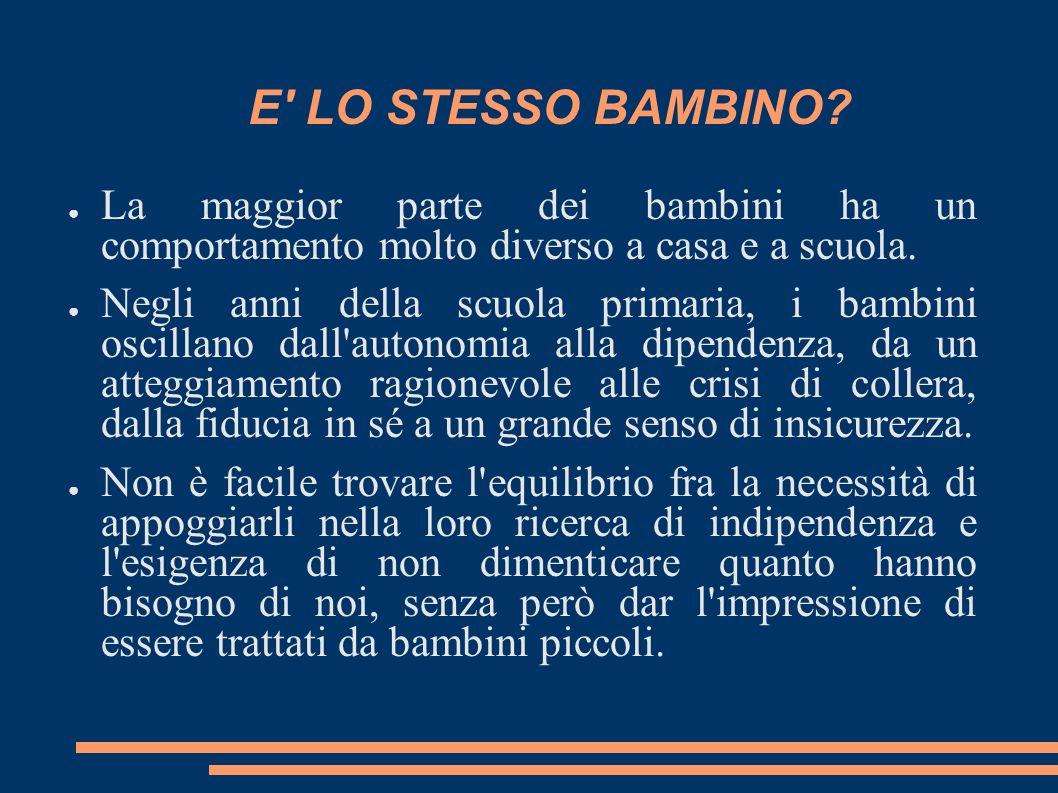 E LO STESSO BAMBINO La maggior parte dei bambini ha un comportamento molto diverso a casa e a scuola.