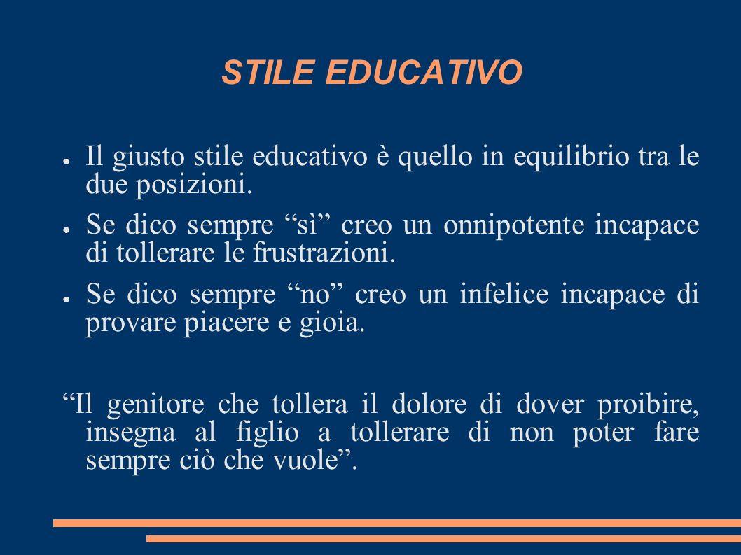 STILE EDUCATIVO Il giusto stile educativo è quello in equilibrio tra le due posizioni.
