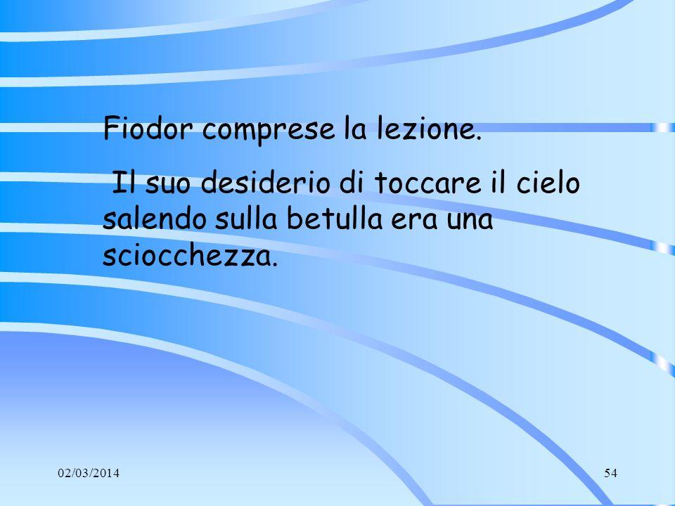 Fiodor comprese la lezione.