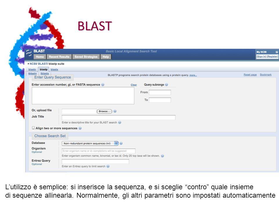 BLAST L'utilizzo è semplice: si inserisce la sequenza, e si sceglie contro quale insieme.