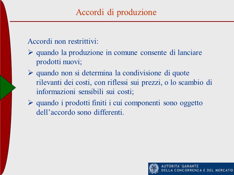 Accordi di produzione Accordi non restrittivi: