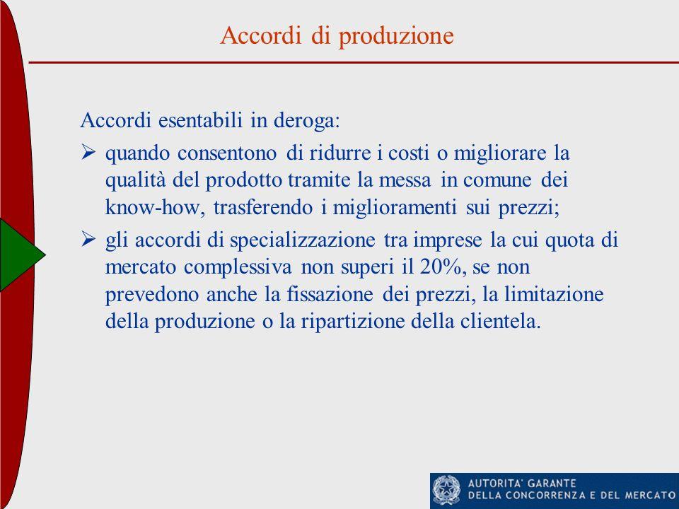 Accordi di produzione Accordi esentabili in deroga: