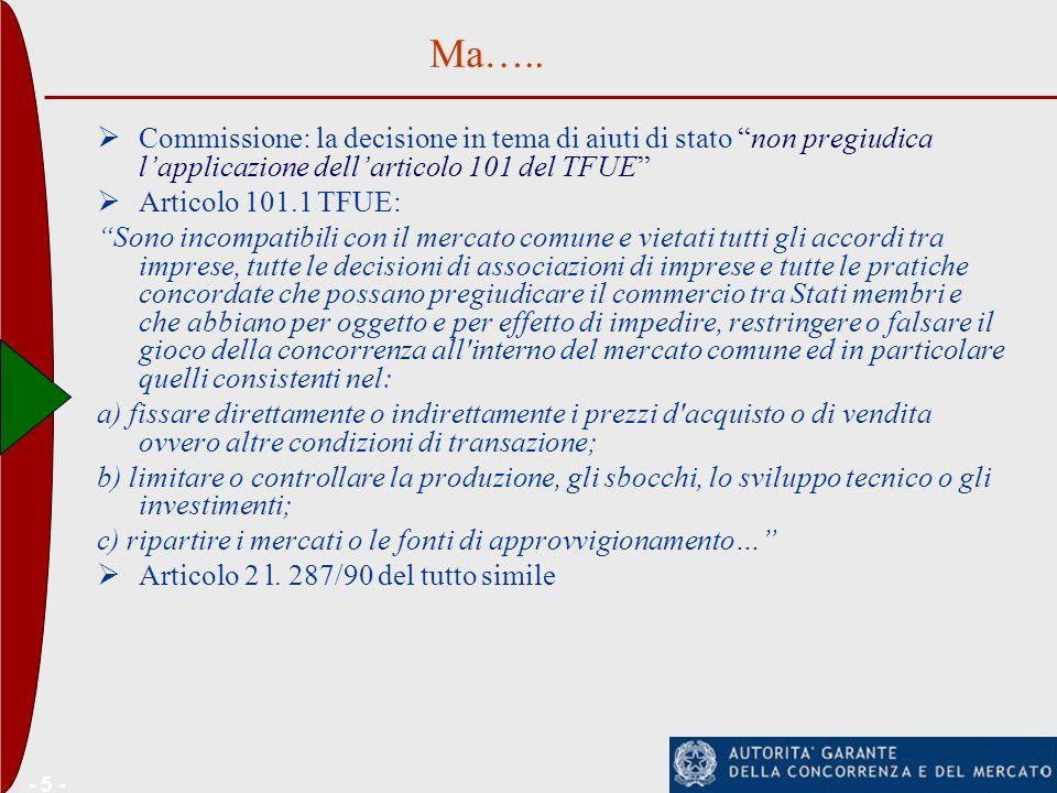 Ma….. Commissione: la decisione in tema di aiuti di stato non pregiudica l'applicazione dell'articolo 101 del TFUE