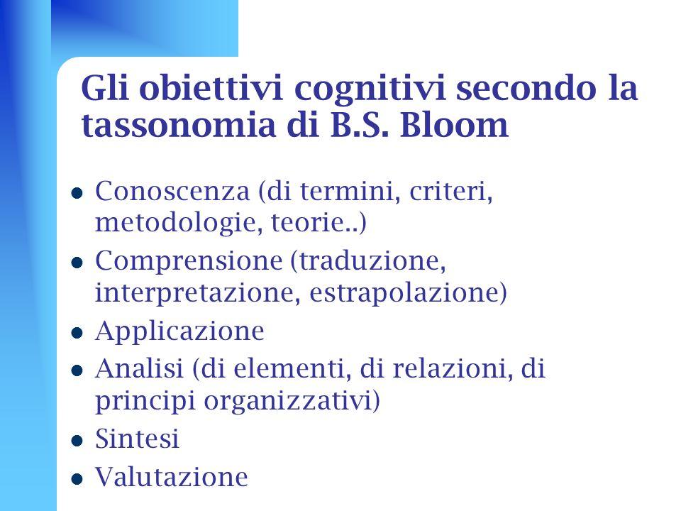 Gli obiettivi cognitivi secondo la tassonomia di B.S. Bloom