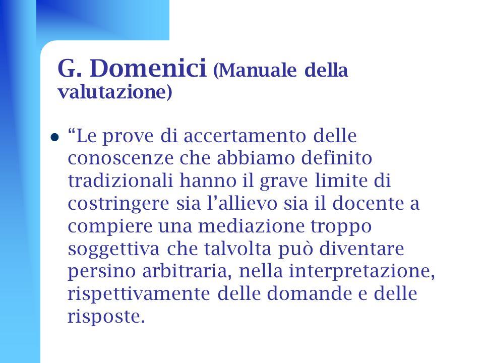 G. Domenici (Manuale della valutazione)