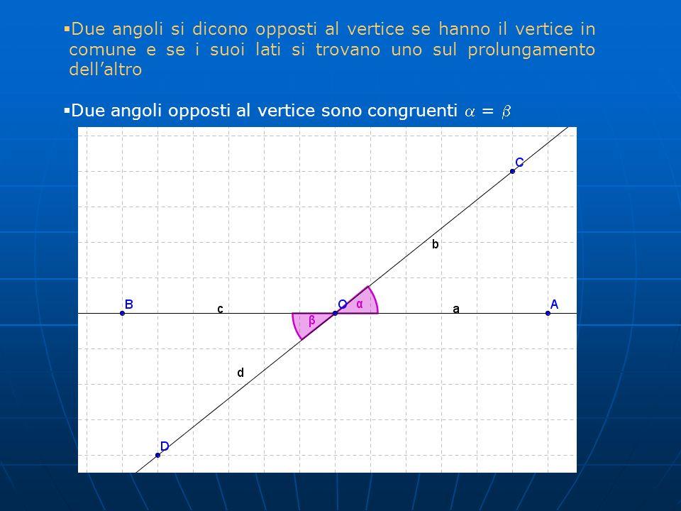 Due angoli si dicono opposti al vertice se hanno il vertice in comune e se i suoi lati si trovano uno sul prolungamento dell'altro