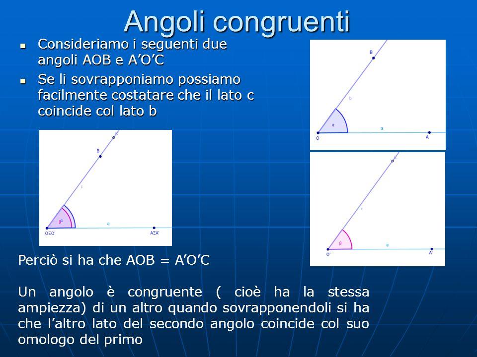 Angoli congruenti Consideriamo i seguenti due angoli AOB e A'O'C