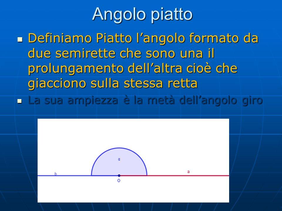 Angolo piatto Definiamo Piatto l'angolo formato da due semirette che sono una il prolungamento dell'altra cioè che giacciono sulla stessa retta.