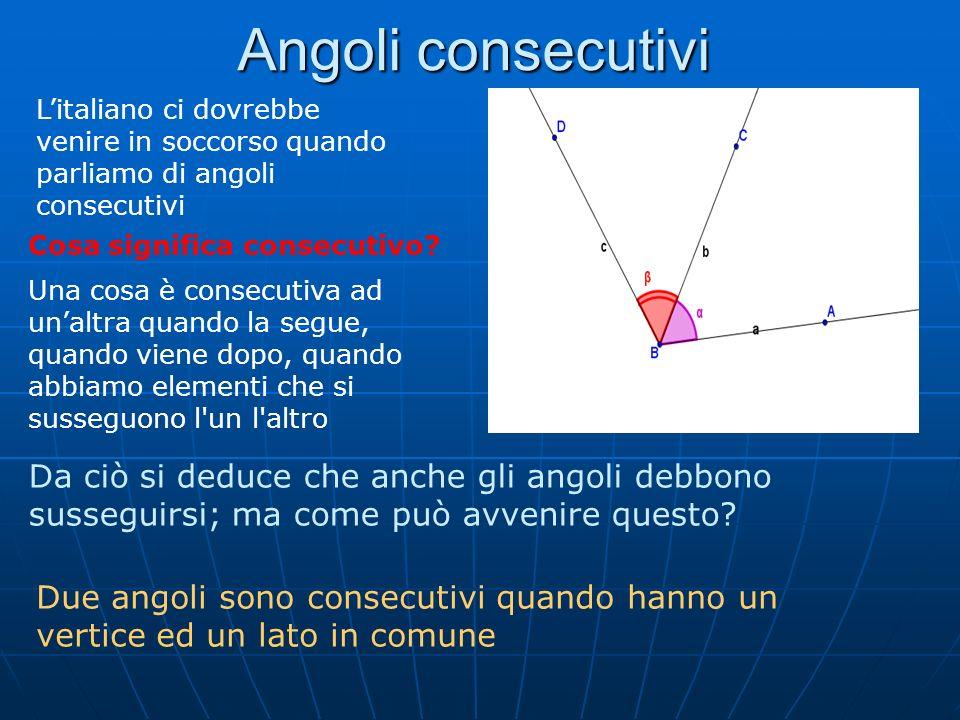 Angoli consecutivi L'italiano ci dovrebbe venire in soccorso quando parliamo di angoli consecutivi.