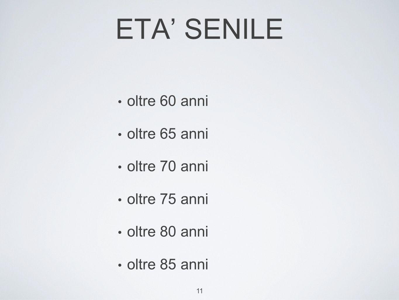 ETA' SENILE oltre 60 anni oltre 65 anni oltre 70 anni oltre 75 anni