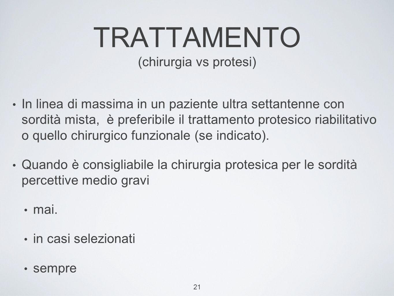 TRATTAMENTO (chirurgia vs protesi)