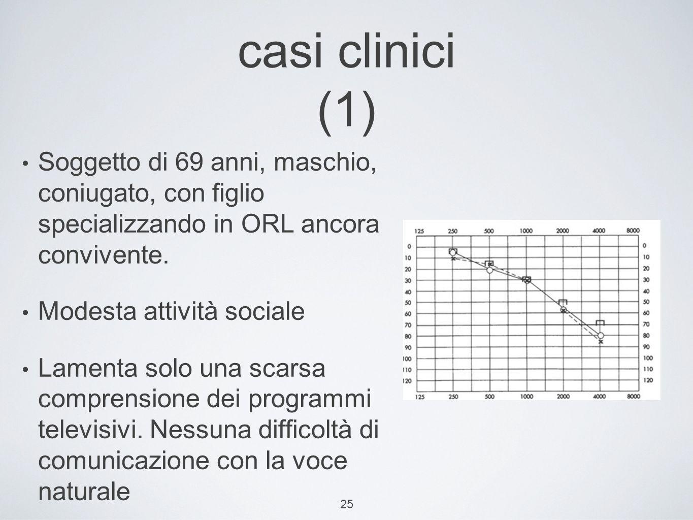 casi clinici (1) Soggetto di 69 anni, maschio, coniugato, con figlio specializzando in ORL ancora convivente.